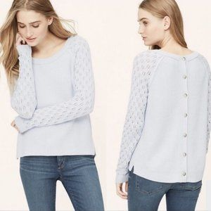 🌻 LOFT Button Back Crew Neck Loose Knit Sweater